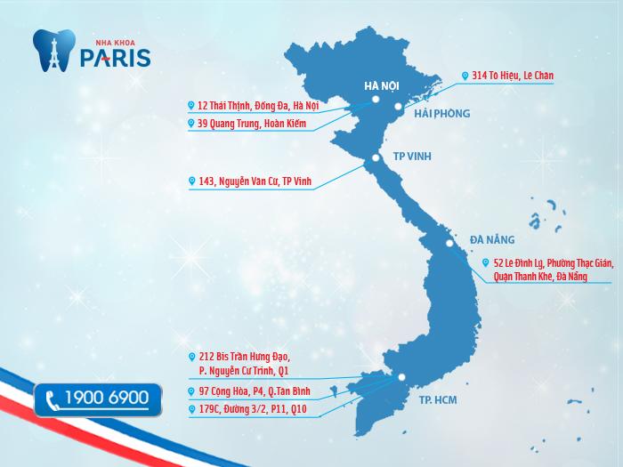 Bản đồ nha khoa Paris tại Việt Nam