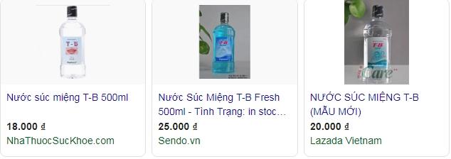giá nước súc miệng tb traphaco