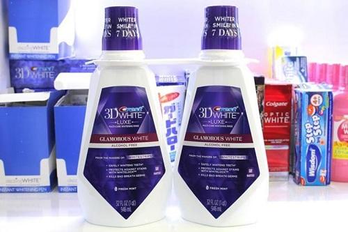 nước súc miệng crest 3d white luxe