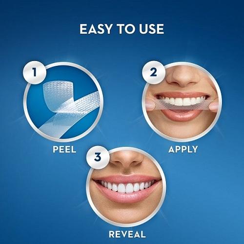 Cách dùng miếng dán trắng răng crest 3d white