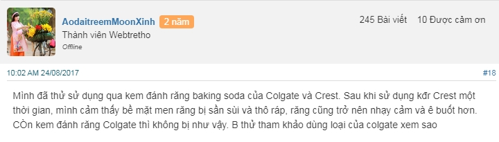 kem đánh răng baking soda vị hoa quả review
