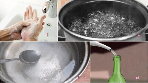 trình bày cách pha nước muối sinh lý